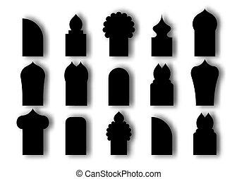plano, vector, puertas, tradicional, plano de fondo, windows., arco, blanco, estilo, diseño, cultura árabe, islámico, negro, ilustración, caricatura, aislado, ventana, conjunto, icon.