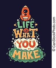 plano, vida, diseño, cita, moderno, ilustración, hipster, frase
