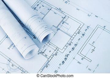 planos, construcción, plan