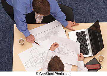 planos, dos, arquitectos, repasar