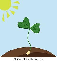 planta, blanco, tierra, fondo., vector, ilustración