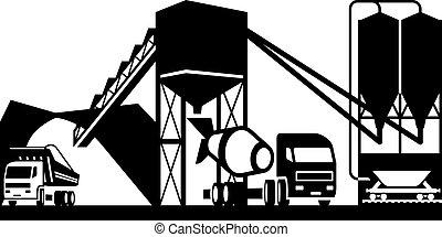 Planta de concreto con camiones