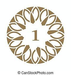 Planta de diseño de arte decorativo. El elemento número uno para el diseño, lugar para el texto. Ilustración de oro para invitaciones y tarjetas de felicitación
