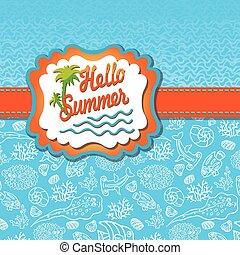 Planta de diseño de verano. Vida marina divertida, etiqueta de sol, olas