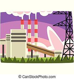 Planta de generación de electricidad, estación de combustible fósil ilustración horizontal vectorial