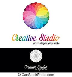 Planta de logo de estudio creativa