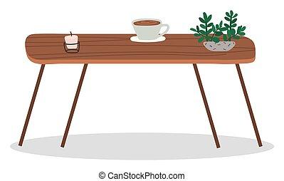 planta, de madera, café, mesa de centro, taza