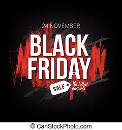 Planta de venta de Viernes Negro para web, producción de diseño de impresión. Texto blanco sobre fondo negro contraste con pinceladas rojas. Ilustración de vectores