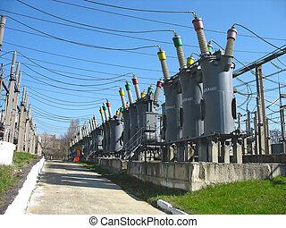 planta, energía eléctrica, alto, equipo, voltaje, línea, converters