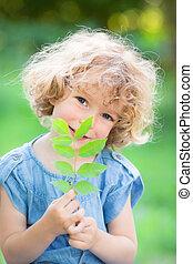 Planta joven contra fondo verde
