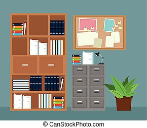planta, oficina, aviso, gabinete, tabla, archivo, potted, muebles