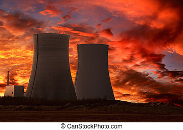 planta, potencia, nuclear, cielo, intenso, rojo