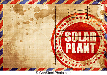 Planta solar, sello de grunge rojo en un historial de correo aéreo
