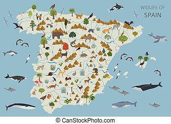 plantas, colección, animales, geografía, wildlife., poseer, españa, elementos, su, constructor, plano, set., blanco, construya, diseño, aves, infographics, aislado