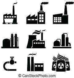 Plantas de energía, fábricas y edificios industriales
