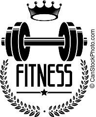 Plantas de logotipo de fisiculturismo y logotipo deportivo, emblema de vectores retroestilizados o placa. Con Barbell.