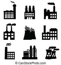 plantas, fábricas, industrial, potencia, edificios