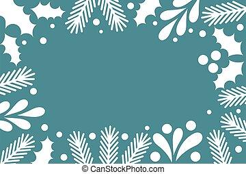 plantas, invierno, fondo., navidad, blanco, marco