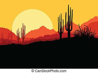 plantas, naturaleza, árbol, ilustración, vector, palma, plano de fondo, salvaje, cacto, paisaje del desierto