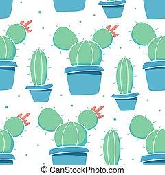 plantas, plano de fondo, blanco, verde, cacto, pots.