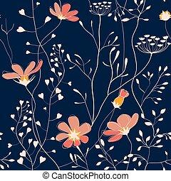 Plantas salvajes y flores sin costura