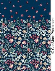 plantas, vector, decorativo, floral, pattern., retro, seamless, flowers., vertical, plano de fondo, style., vendimia