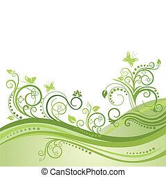 Plantas verdes, flores y mariposas