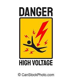 plantilla, alto, relámpago, skull., señal de peligro, voltaje, vector, ilustración, electricidad, símbolo, peligro