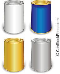 plantilla, coloreado, latas