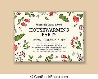 plantilla, creativo, texto, flor, invitación, diseño