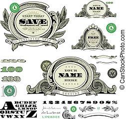 plantilla, dinero, conjunto, vector, marco
