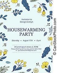 plantilla, fiesta de inauguración de una casa, floral, invitación, fiesta