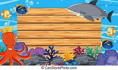 plantilla, frontera, océano, tema, plano de fondo