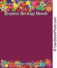 plantilla, herencia, hispano, mes, cartel