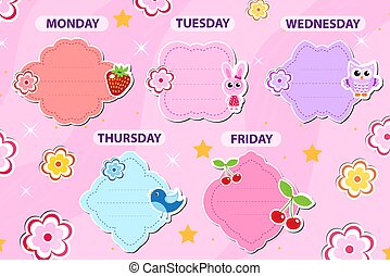 plantilla, ilustración, lindo, kids., diseño, semanalmente, elements., escuela, vector, horario, planificador, día laborable