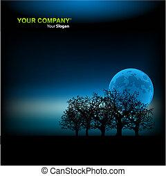plantilla, ilustración, plano de fondo, vector, luz de la luna
