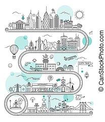 plantilla, infographic, camino ciudad