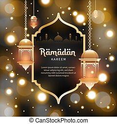 plantilla, islámico, estilo, plano de fondo, kareem, tarjeta, vale, saludo, blured, acontecimiento, ramadan, cartel, bandera