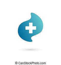 plantilla, logotipo, icono, más, diseño, médico, cruz