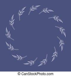 plantilla, natural, lineal, vector, frame., rama, contorno