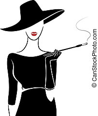 plantilla, niña, vendimia, cigarro, moda
