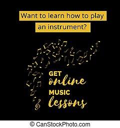 plantilla, note., lección música, mano, dibujado, en línea, vector