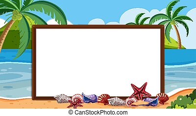 plantilla, océano, frontera, plano de fondo