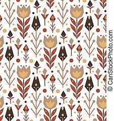 plantilla, ramas, tulipanes, hojas, nativo, tribal, blanco, vector, dots., seamless, fondo., patrón