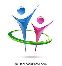 plantilla, resumen, logotipo, vector, figuras, humano