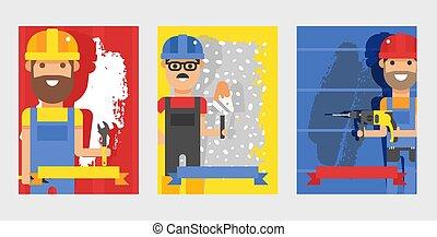 plantilla, service., reparación, smiles., vector, carácter, ilustración, caricatura, reparador, bandera, pared, factótum, reparación