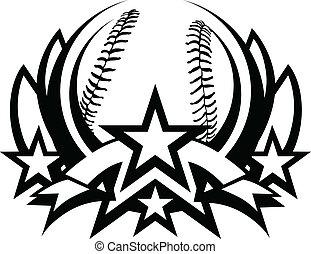 plantilla, vector, beisball, gráfico