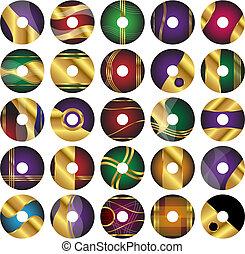 plantillas, 25, dvd, cd, vector, etiqueta, o