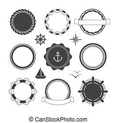 plantillas, náutico, insignias, iconos