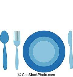 Plata con tenedor, cuchillo y cuchara aislados en el fondo blanco